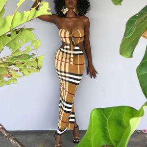 Dresses & Skirts - Plaid Print Strapless Midi Dress